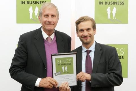 Verleihung der Ethic Business Auszeichnung an Wittmann Recycling