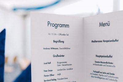 Die Programm- und Menükarte des Wittmann Recycling Jubiläum